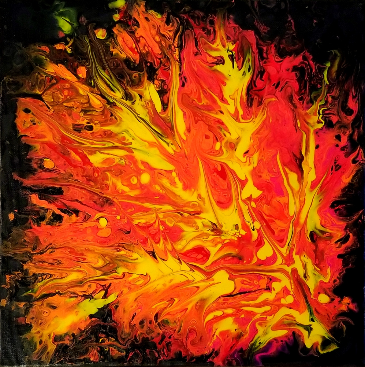 "Flames I 12""X12"" Acrylic on Canvas for Sale"