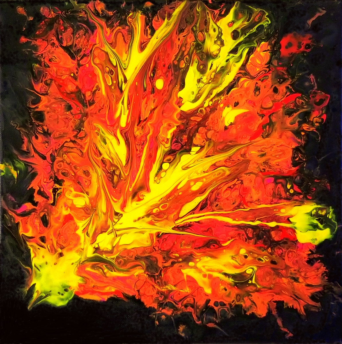 "Flames II 12""X12"" Acrylic on Canvas For Sale"