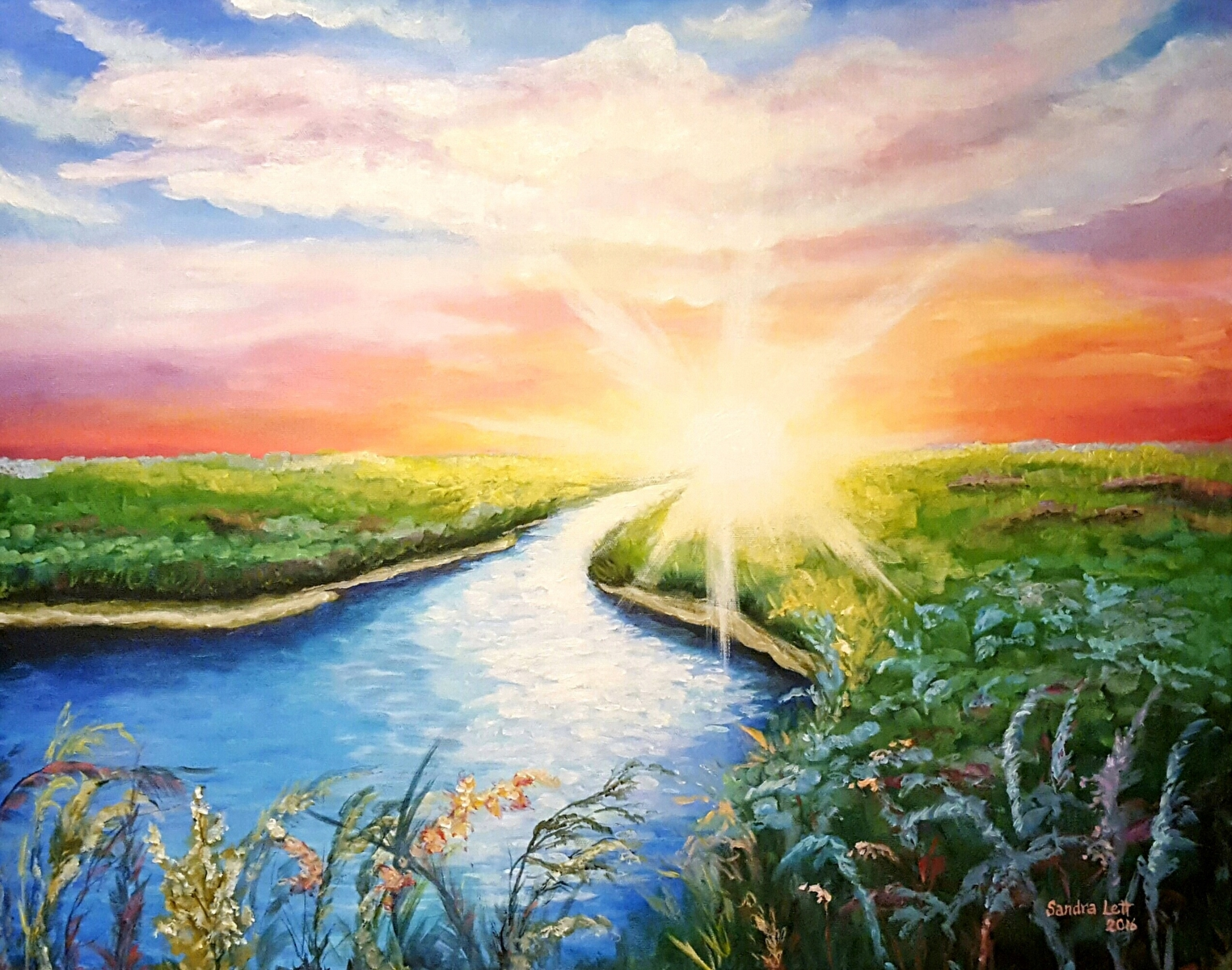 "Sunburst 28""X22"" Acrylic on Canvas"