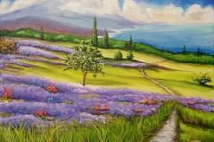 "Lavender Fields 20""X16"" Acrylic on Canvas"